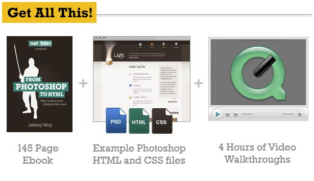 You get a 145 page eBook + Example Photoshop, HTML and CSS files + 4 hours of screencasts