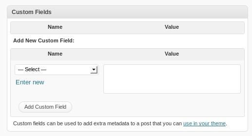 The custom fields interface