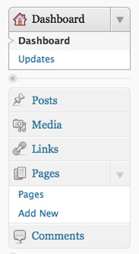 our original wordpress menu